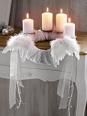 white life adventskranz advent wreath. Black Bedroom Furniture Sets. Home Design Ideas