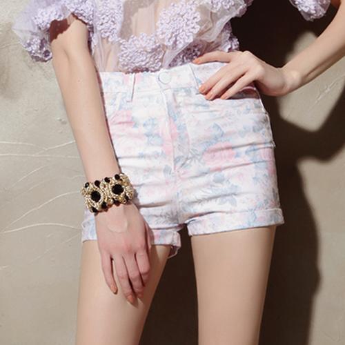Pastel Floral High Waist Shorts