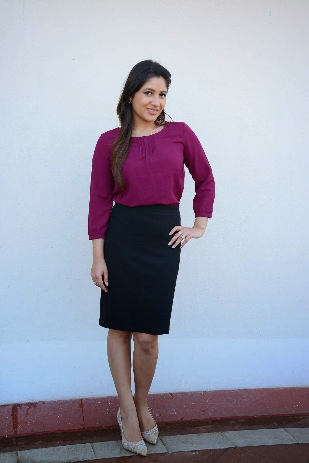 Actress Prabhjeet Kaur Latest Cute Hot Purple Top And Black Mini Skirt Dress Spicy Thighs Show Photos Gallery