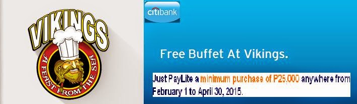 Citibank Credit cards Promo:, free buffet vikings, Citibank