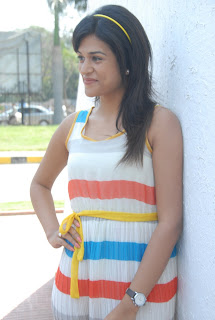 Shraddha Das Cutest Spicy Pictures in Stripes Dress