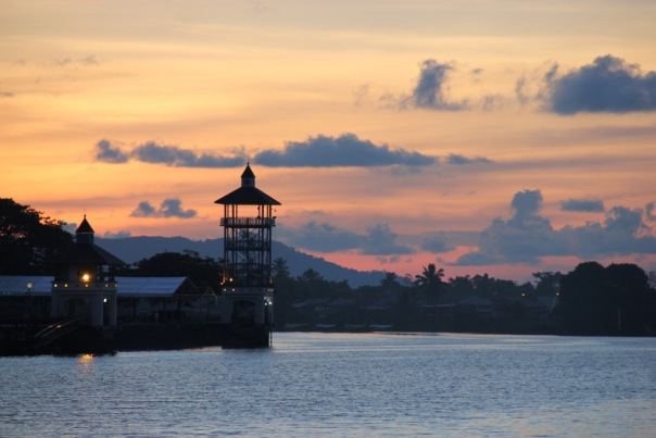 Kuching Waterfront at sunset - raisingexplorers.net