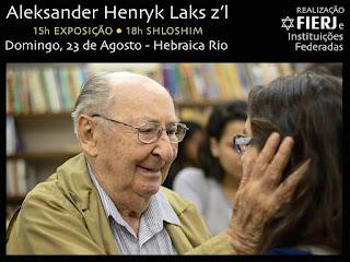 Fierj e instituições judaicas do Rio homenagearão Aleksander Laks