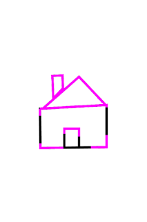 A black outline of a house with pink outlines indicating where tracing has occurred.