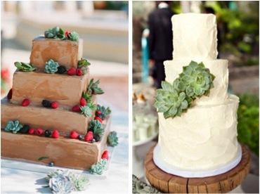 Tarta de boda con plantas suculentas