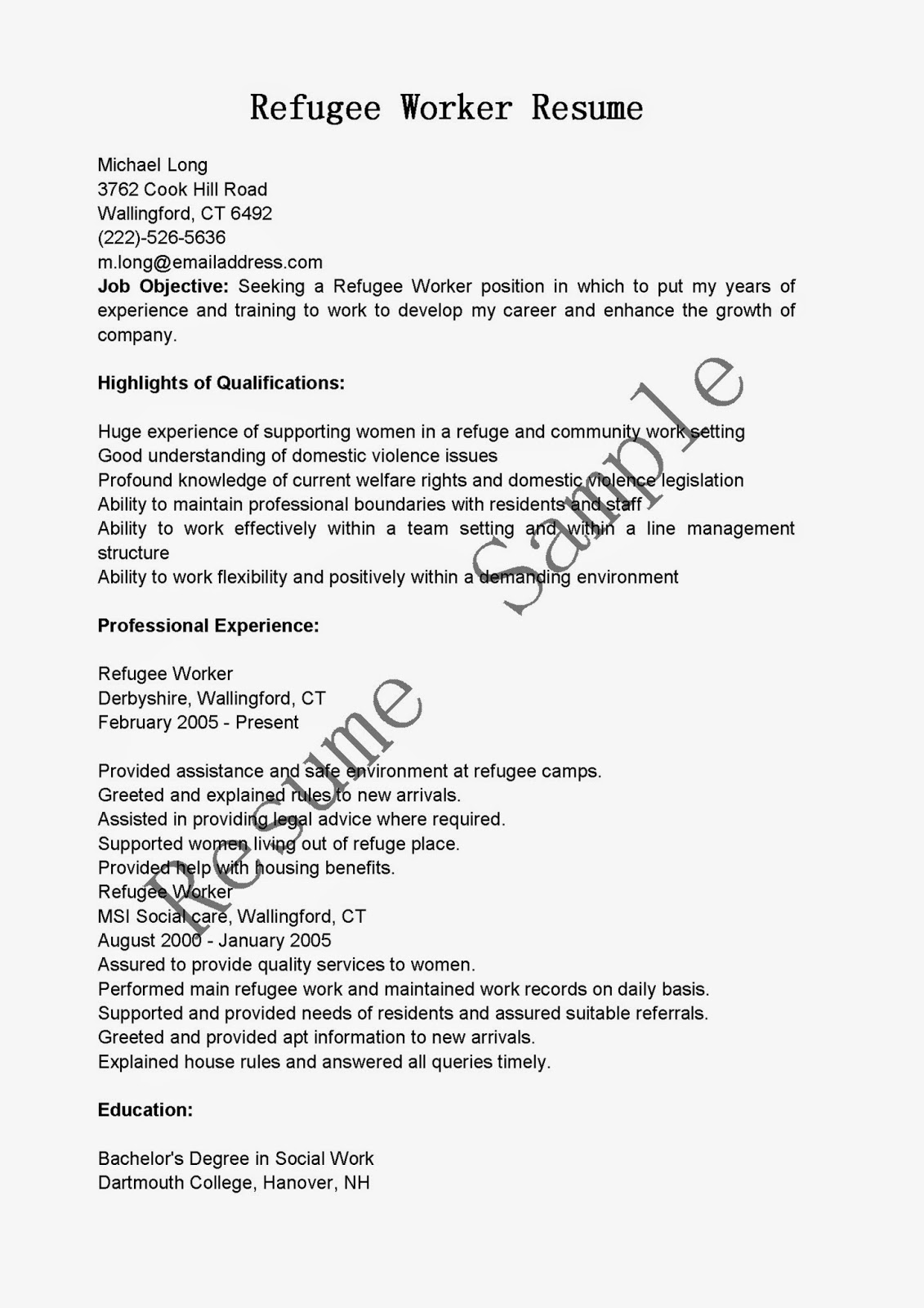 resume samples  refugee worker resume sample
