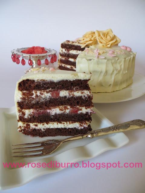 torta al cioccolato con crema  dolce di formaggi (ricetta)