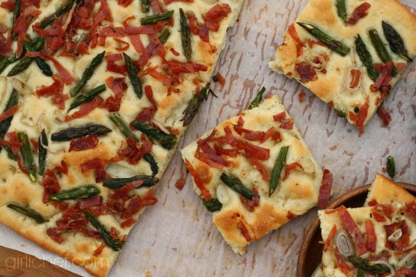 <b>Fast Focaccia with Prosciutto, Asparagus, and Shallots</b> #passtheprosciutto