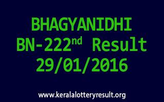 BHAGYANIDHI BN 222 Lottery Result 29-01-2016