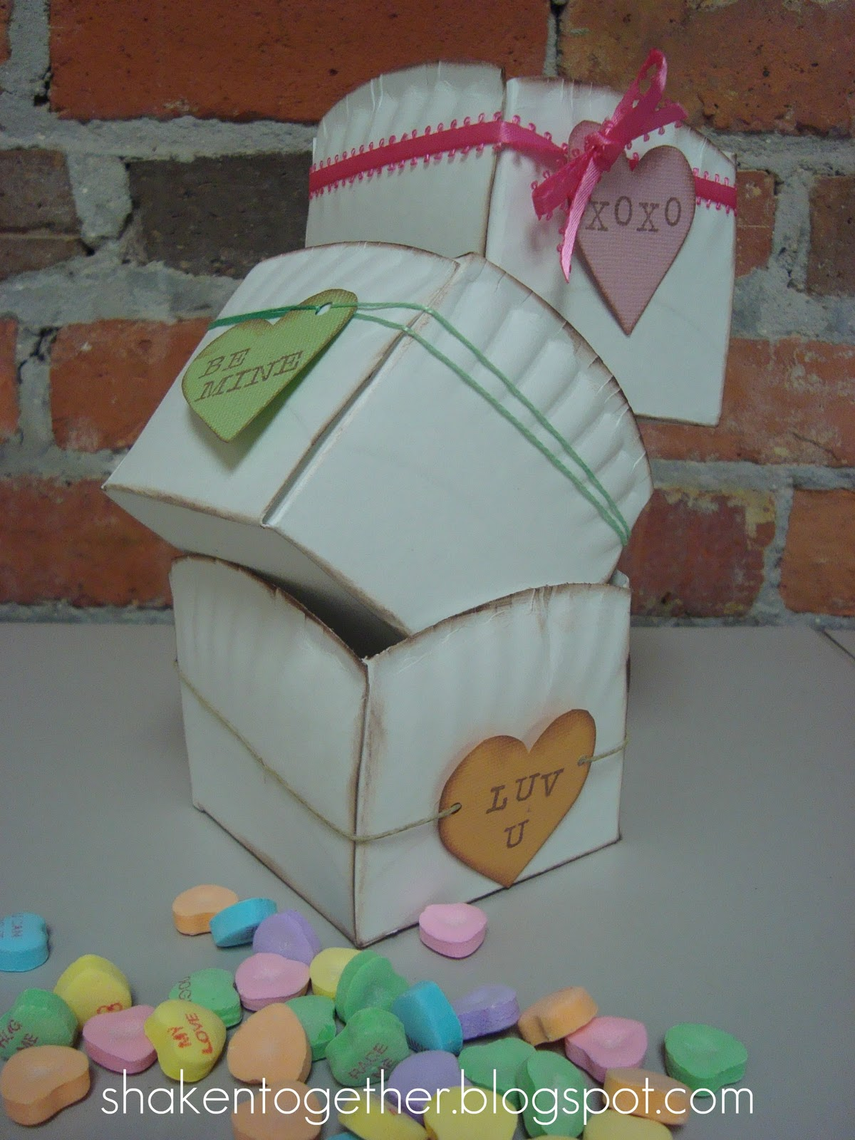 I inked all of the edges of the basket and then added a paper conversation heart tied on with ribbon twine or thread. LOVE the little messages u2026 & Conversation Heart Paper Plate Baskets