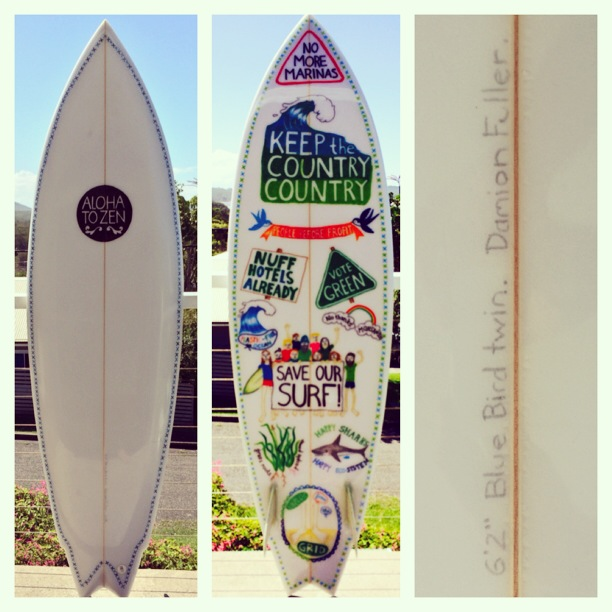 Model 1- Save Our Surf twin fin