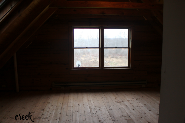 cabin loft bedroom before renovation