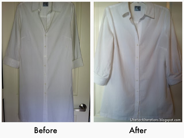 Ulterior Alterations: Lab Coat Dress Remake Before & After