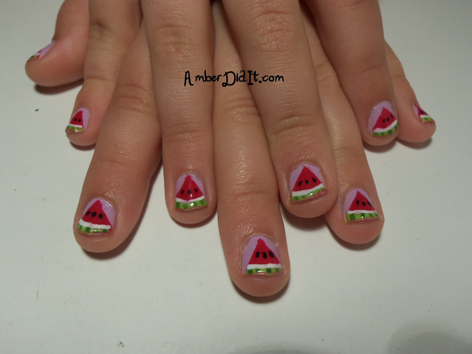 Amber did it!: Mom and Daughter Watermelon Nails
