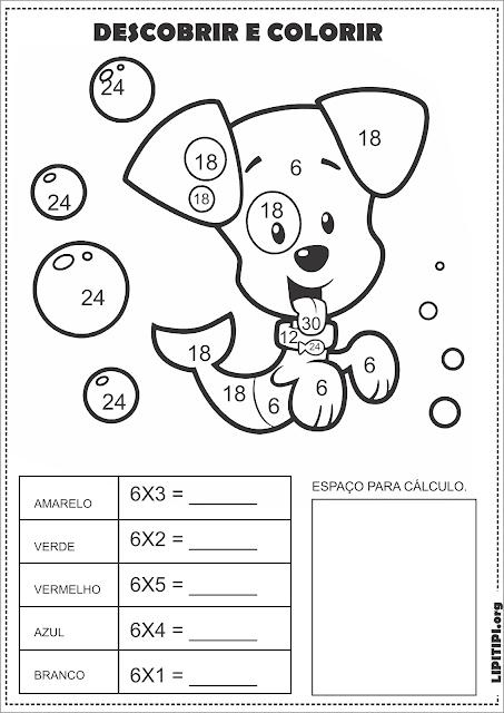 Atividade Multiplicação Tabuada Divertida Calcular e Colorir Bubble Guppies