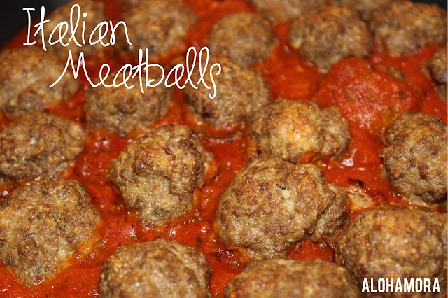 Italian Meatballs.  Easy to make and absolutely delicious!  Perfect with pasta, spaghetti, spaghetti squash, zoodles, or just sautted zucchini like I did. Alohamora Open a Book http://www.alohamoraopenabook.blogspot.com/ easy, classic, dinner, recipe, options kid friendly,