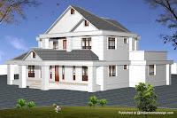 Diseño de casa blanca en 3D de 3 pisos