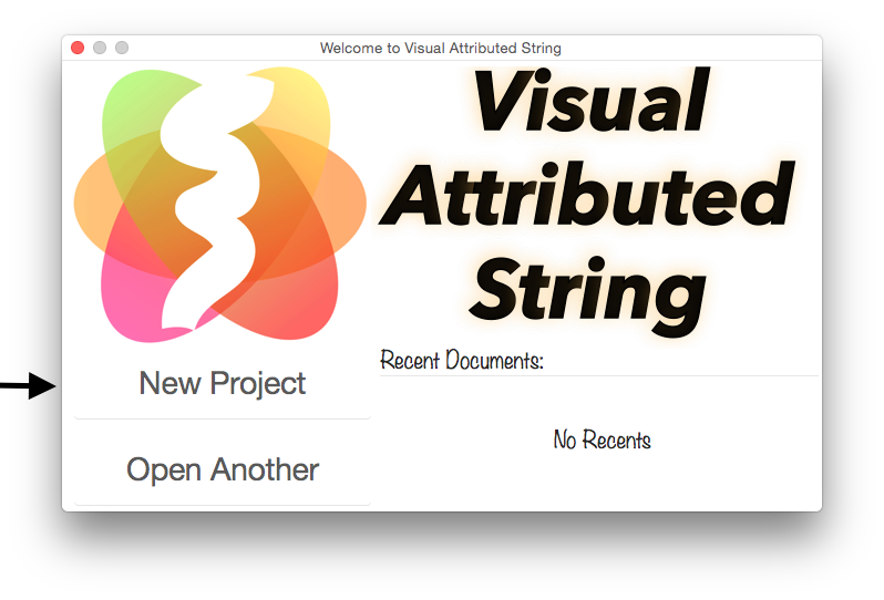 Visual Attributed String welcome window.
