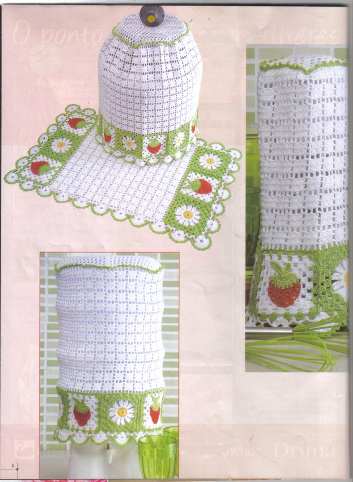 Arte em Trabalhos Manuais Jogo de Cozinha em Crochê Barbante