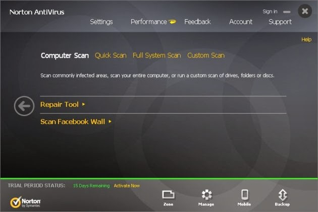 Norton Antivirus 2014 - Scanning Modules