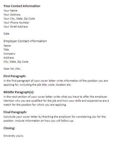 Sample Format for a Cover Letter