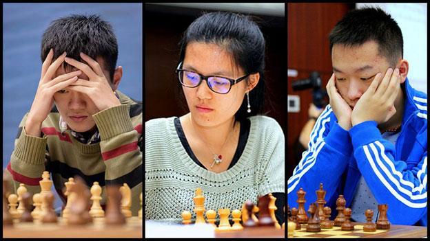 La triplette chinoise avec Ding Liren, Hou Yifan et Wei Yi