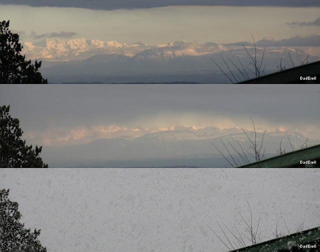 Chaine de Belledonne cachée par les chutes de neige