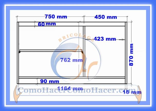 Muebles de cocina melamina planos ideas for Planos de bajo mesada de melamina
