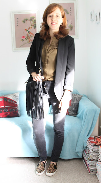OOTD Marks and Spencer Silk Green Shirt Black Jeans H&M Bag Blazer ASOS Leopard Print Skater Shoes Fashion Blogger