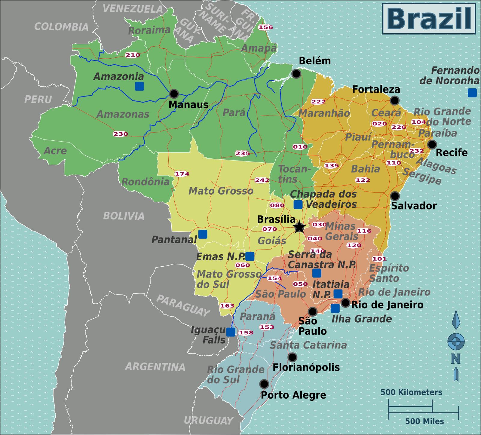 Online Maps Brazil road map