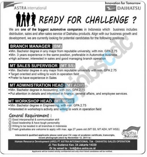 Astra Daihatsu Sales Operation - Branch Manager, MT Sales Supervisor