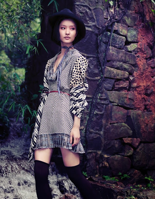 Vogue China outdoor editorial Du Juan by Stockton Johnson September 2011