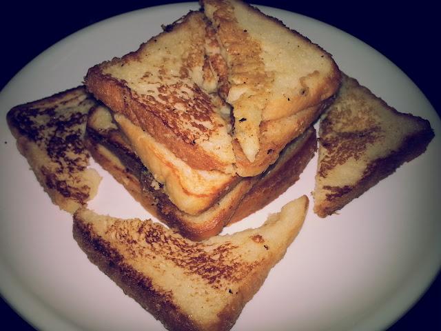 ghee bread,bread fry,recipe,homemade easy food ,snack