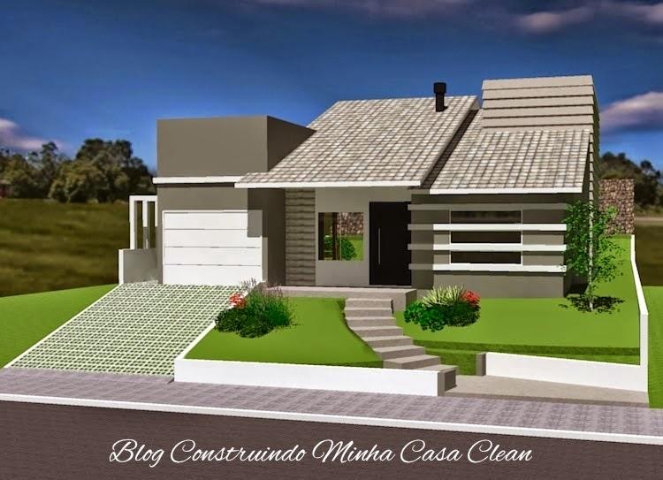 ideias jardins moradias : ideias jardins moradias:Construindo Minha Casa Clean: Fachadas de Casas em Terrenos em Aclive