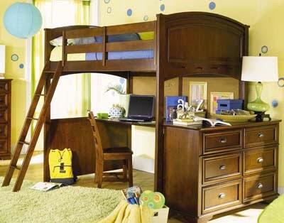 wooden loft bed for kids bedroom