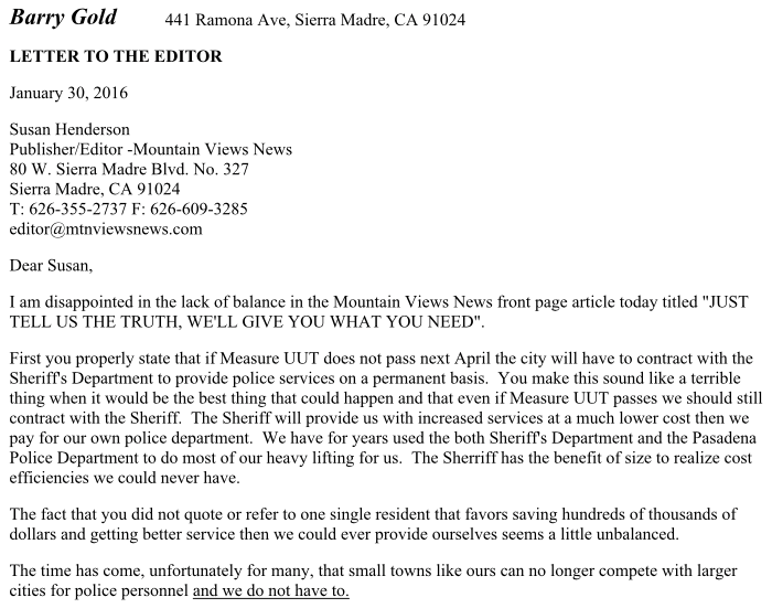 Canada Goose coats sale fake - The Sierra Madre Tattler!: A Resident Letter to the MVN's Susan ...