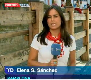 Elena S. Sánchez, enviada especial de TVE a los Sanfermines 2012