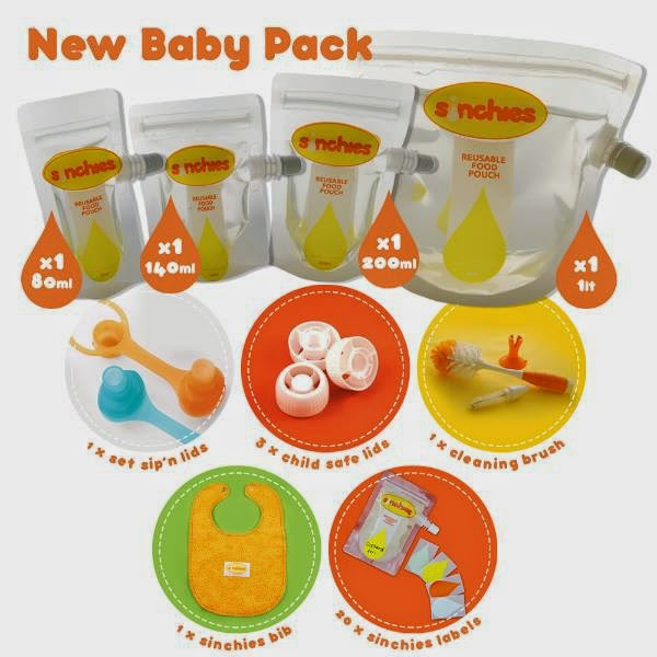 Sinchies reusable baby food pouches new baby pack