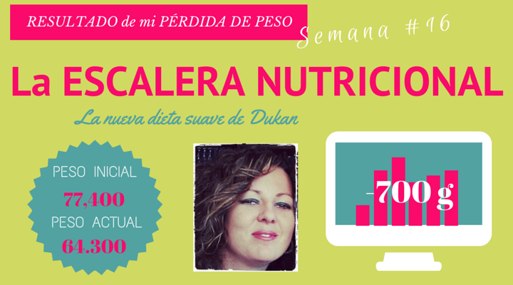 Verás en vídeo mi experiencia y resultado de la perdida de peso de mi semana 16 y decisiva, haciendo la nueva dieta suave de Dukan, LA ESCALERA NUTRICIONAL. Testimonio personal de los resultados visibles de perder peso fácilmente sin volver a engordar.