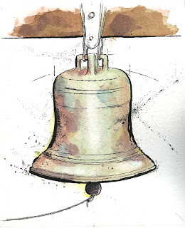 ammon perry illustration card bell watercolor pen and ink
