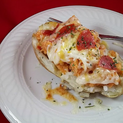 Pizza Stuffed Baked Potato frugalanticsrecipes.com