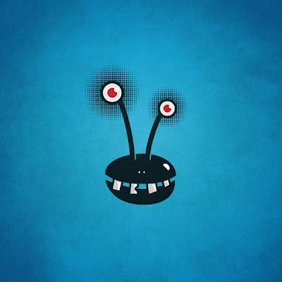 Crazy_smiling_alien_monster_on_blue_textured_background
