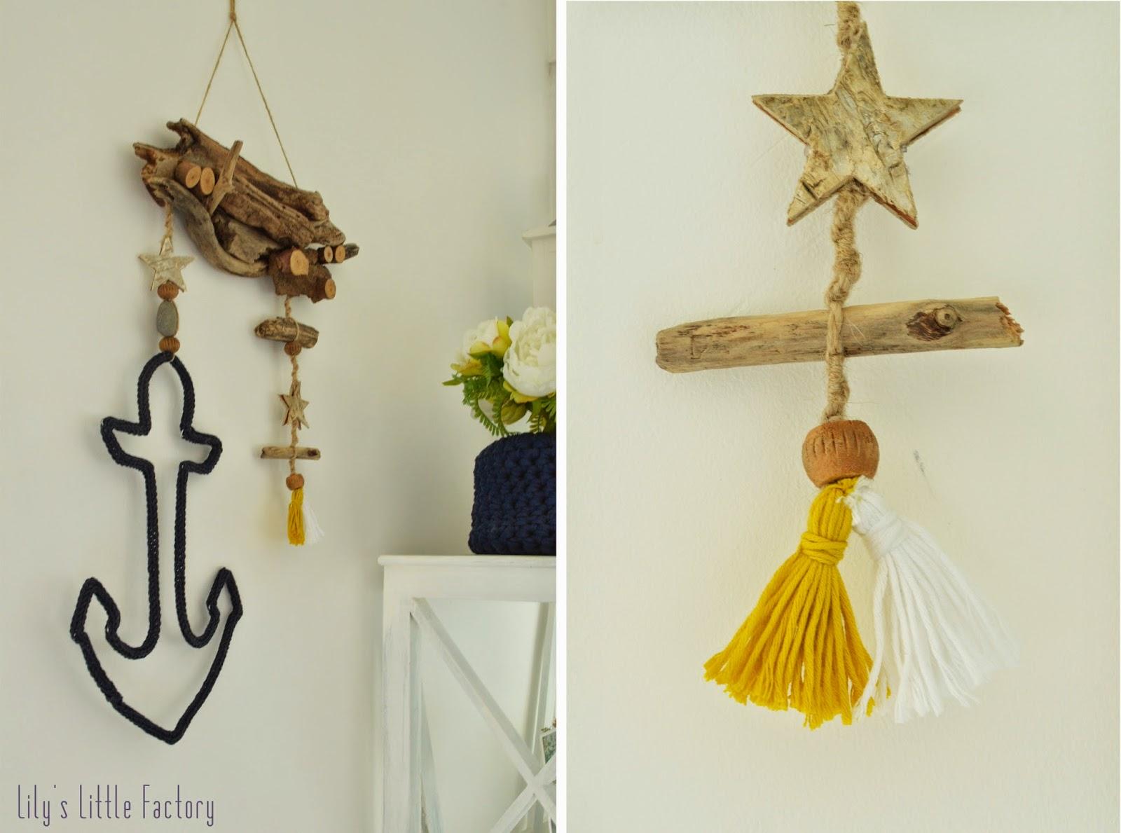 Des souvenirs de plage suspendre tricotin et bois flott lily 39 s little factory blog diy - Chambre en bois flotte 2 ...