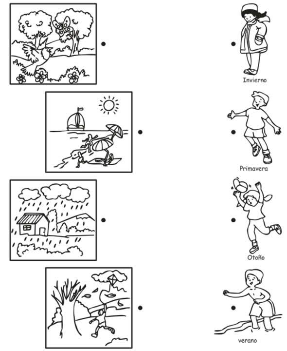 Las estaciones del año para colorear para niños - Imagui