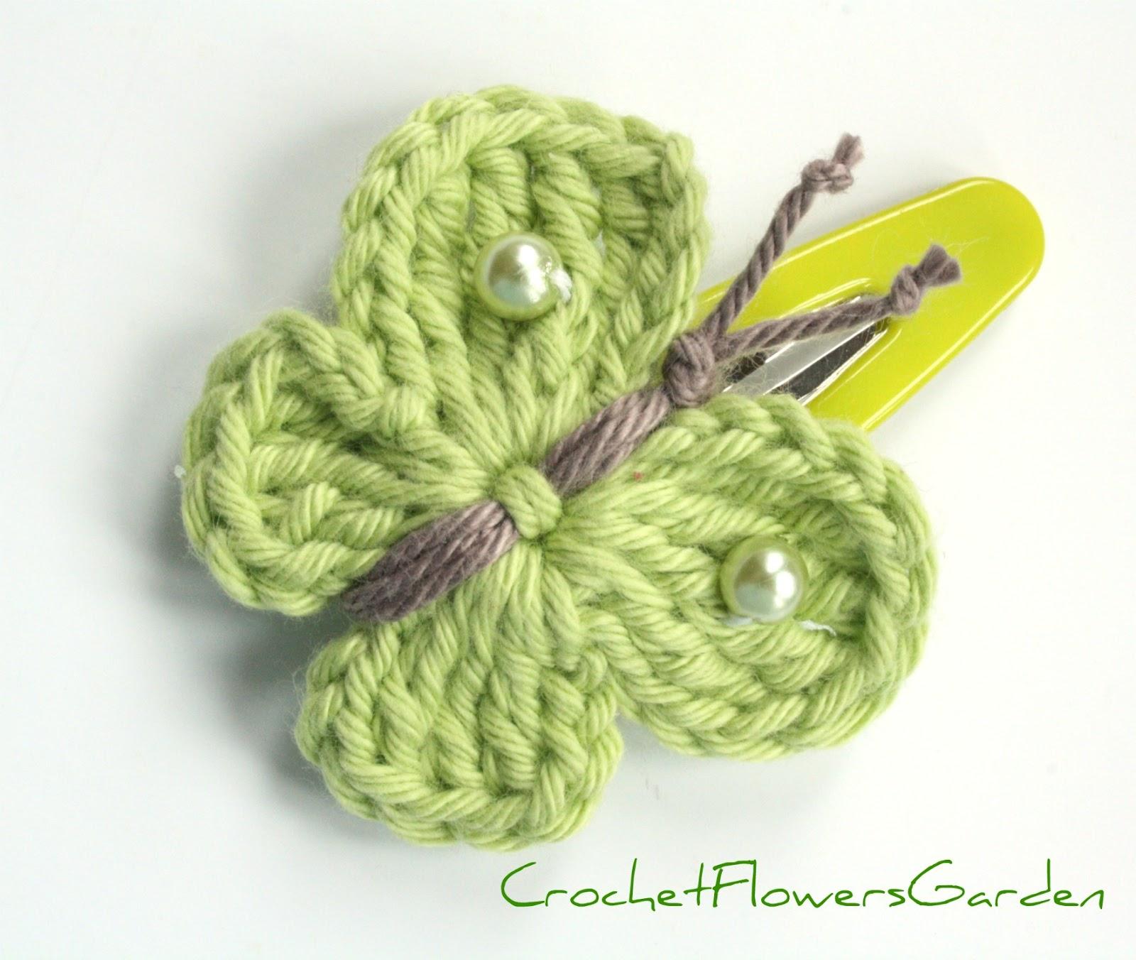 Crochet Green Hair : Single hair clip/crochet butterfly soft green - Hair Slides - by ...