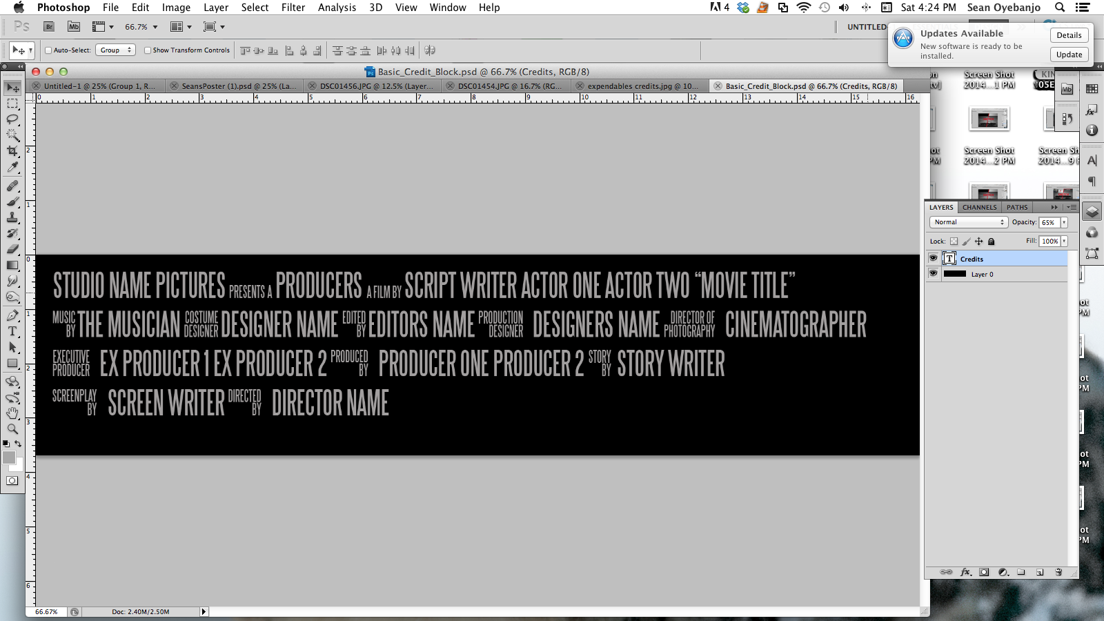Movie Poster Credits Template Png