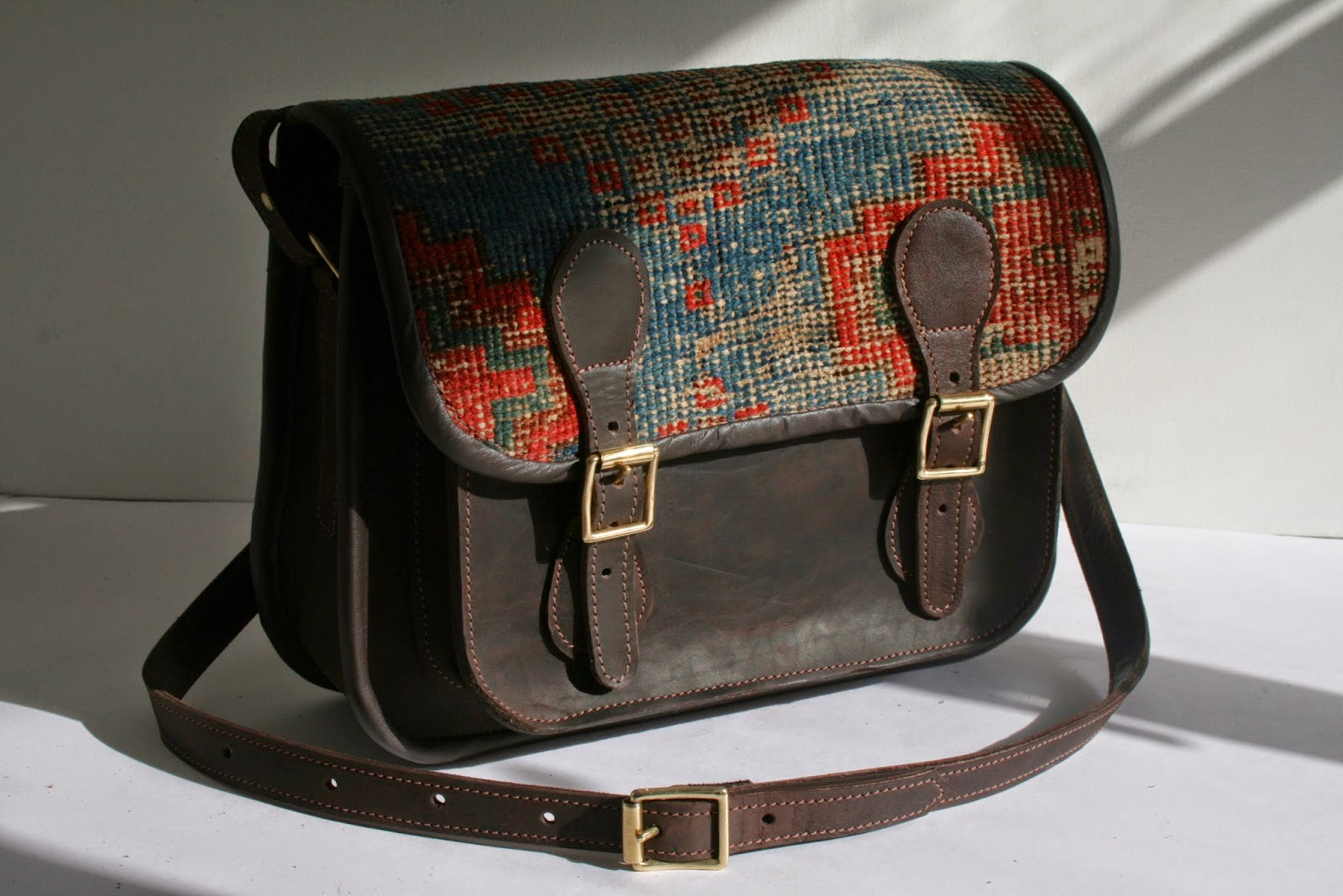 handmade vintage carpet leather satchel