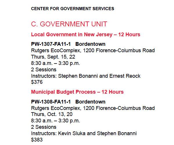 rutgers schedule of classes