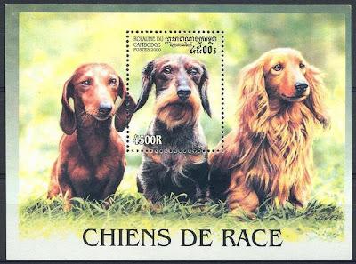 2000年カンボジア王国 ダックスフンドの切手シート