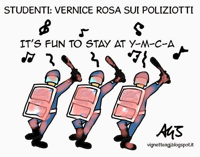 Manifestazione, labuonascuola, polizia, scontri, satira , vignetta